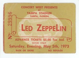 COOL Led Zeppelin 5/5/73 Tampa Stadium RECORD BREAKING CROWD Ticket Stub! - $197.99