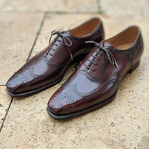 Handmade Men's Burgundy Wing Tip Brogues Lace Up Dress Oxford Leather Shoes image 3