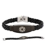 Star Wars Evil Empire Imperial Symbol Unisex Black Leather Braided Brace... - €49,65 EUR