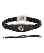 Star Wars Evil Empire Imperial Symbol Unisex Black Leather Braided Brace... - €52,53 EUR