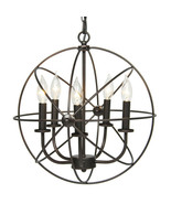 Industrial Vintage Lighting Ceiling Chandelier 5 Lights Metal Hanging Fi... - $187.84
