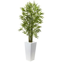 Bamboo Tree With White Planter UV Resistant (Indoor/Outdoor) - $186.00