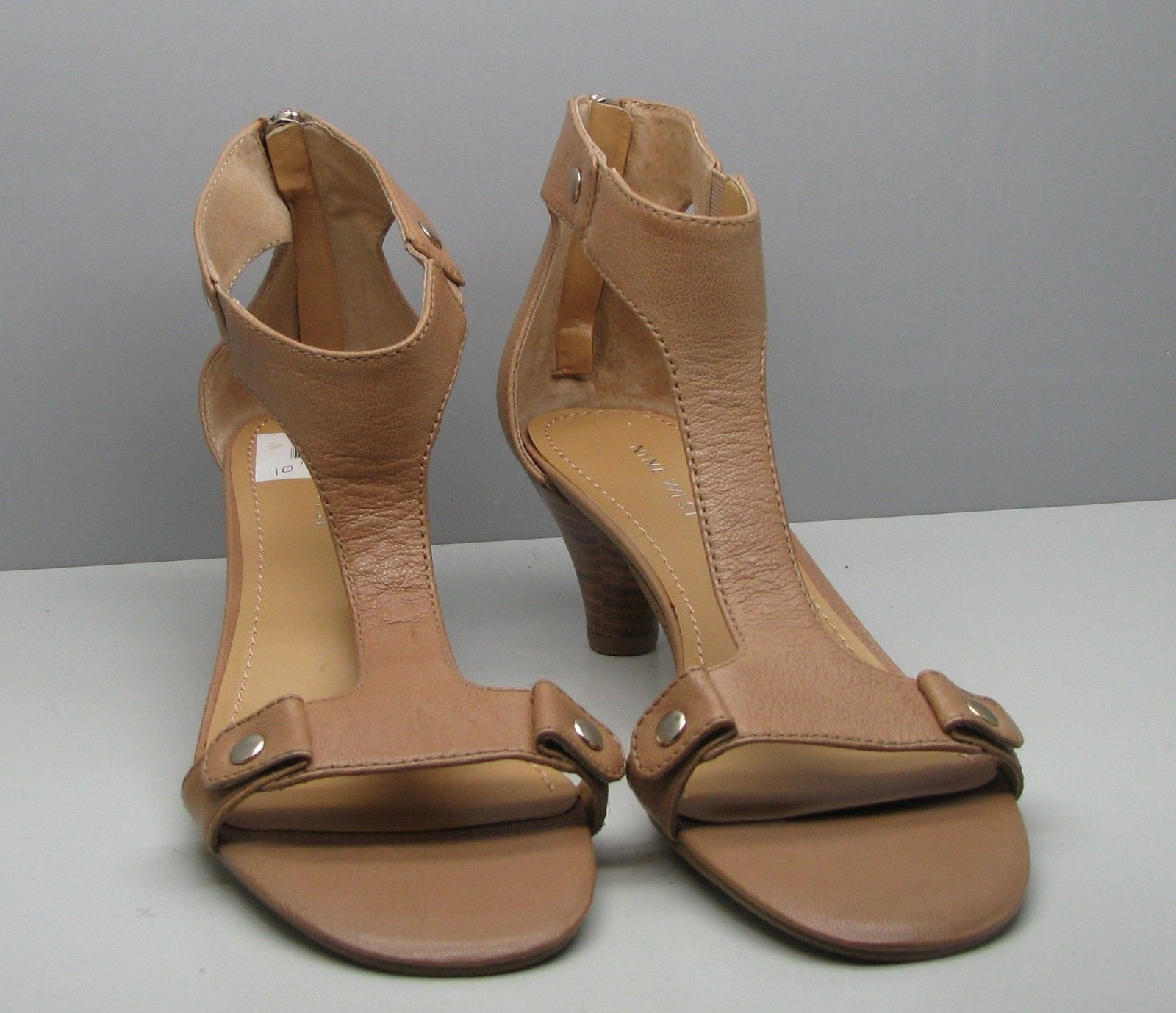 "Nine West SHOES Womans 10 M Tan Leather FANCY Zips Ankle Strap 2 1/4"" Heel"
