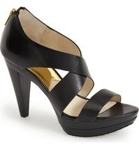 MICHAEL KORS Elena Leather Platform Sandal 7, Black Strappy Heels NEW - ... - $99.99