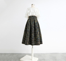 Pink Winter Tweed Skirt A-line High Waisted Pink Midi Tweed Skirt image 6