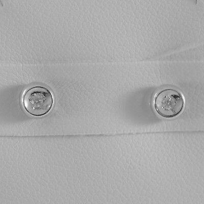 18K WHITE GOLD MINI ROUND EARRINGS DIAMOND DIAMONDS 0.06 CT, MADE IN ITALY