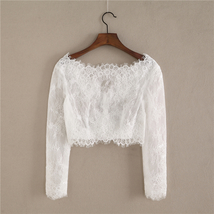 White Off Shoulder Long Sleeve Floral Lace Top Wedding Bridesmaid Lace Crop Tops image 3