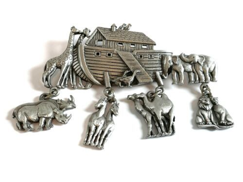 Primary image for Large JJ Jonette Pewter Noah's Ark Brooch Charm Pin w Dangling Animals 2.75""