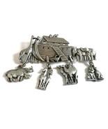 "Large JJ Jonette Pewter Noah's Ark Brooch Charm Pin w Dangling Animals 2.75""   - $15.67"