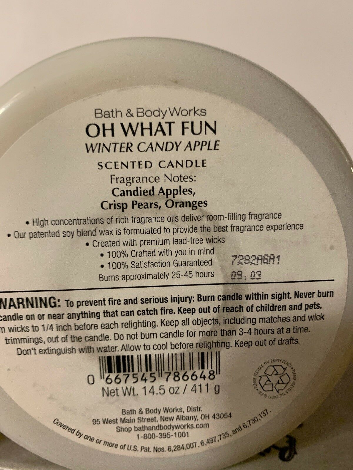 Bath and Body Works OH WHAT FUN Winter Candy Apple 3 Wick Candle 14.5 image 2