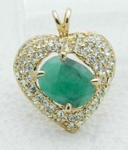 Green Aquamarine Clear Rhinestone Heart Pendant Gold Tone Vintage - $29.69