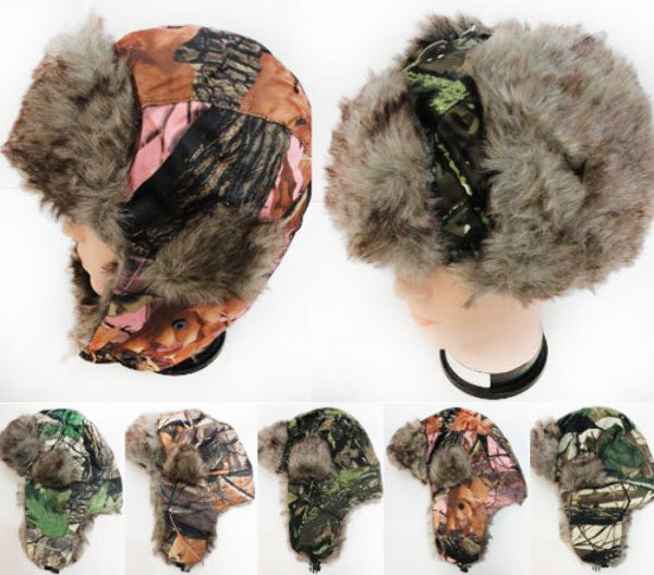 Case of [12] Adult Faux Fur Lined Bomber Camo Winter Hats