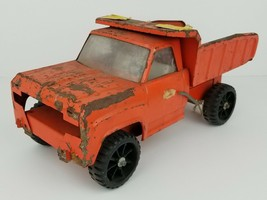 Vintage Tonka Orange Pressed Steel Dump Truck Toy 13.5 Inches Long Distressed - $28.04
