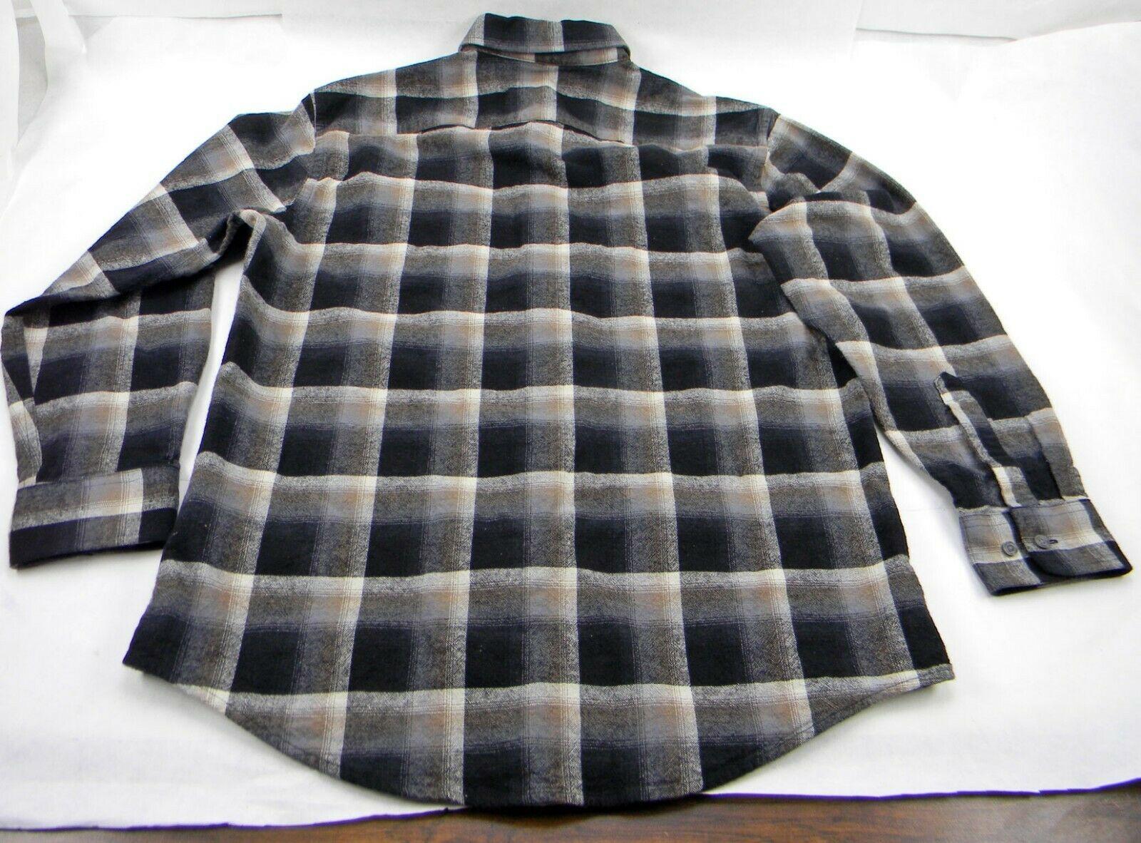 New Pendleton Mason Black Brown Ombre Plaid Long Sleeve Flannel Men's M Shirt image 4