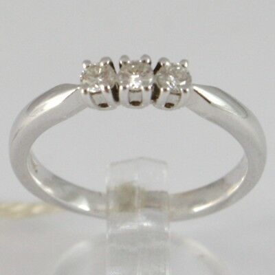 White Gold Ring 750 18K, Trilogy 3 Diamonds Carat Total 0.20, Shank Square