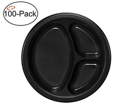 Tiger Chef Round 10 inch Plastic 3 Compartment Divided Plates, 100-Pack, Black,