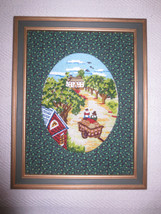 "Framed & Fabric Matted COUNTRY CREWEL EMBROIDERY - 10 1/2"" x 13 3/4"" - U... - $17.77"