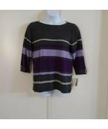 Karen Scott Women's 3/4 Sleeve Striped Ballet Neck Purple Dynasty Sweater Sz XL - $31.79