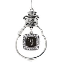 Inspired Silver My Script Initials - Letter Y Classic Snowman Holiday Decoration - $14.69