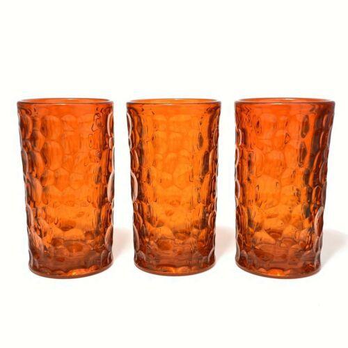 "3 Ben Seibel Fostoria Orange Flame Pebble Beach 5-3/4"" Iced Tea Tumbler Glasses - $45.28"