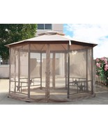 "Gazebo Fabric Canopy 138"" x 138"" Patio Backyard Double Roof Vented Netti... - $399.99"