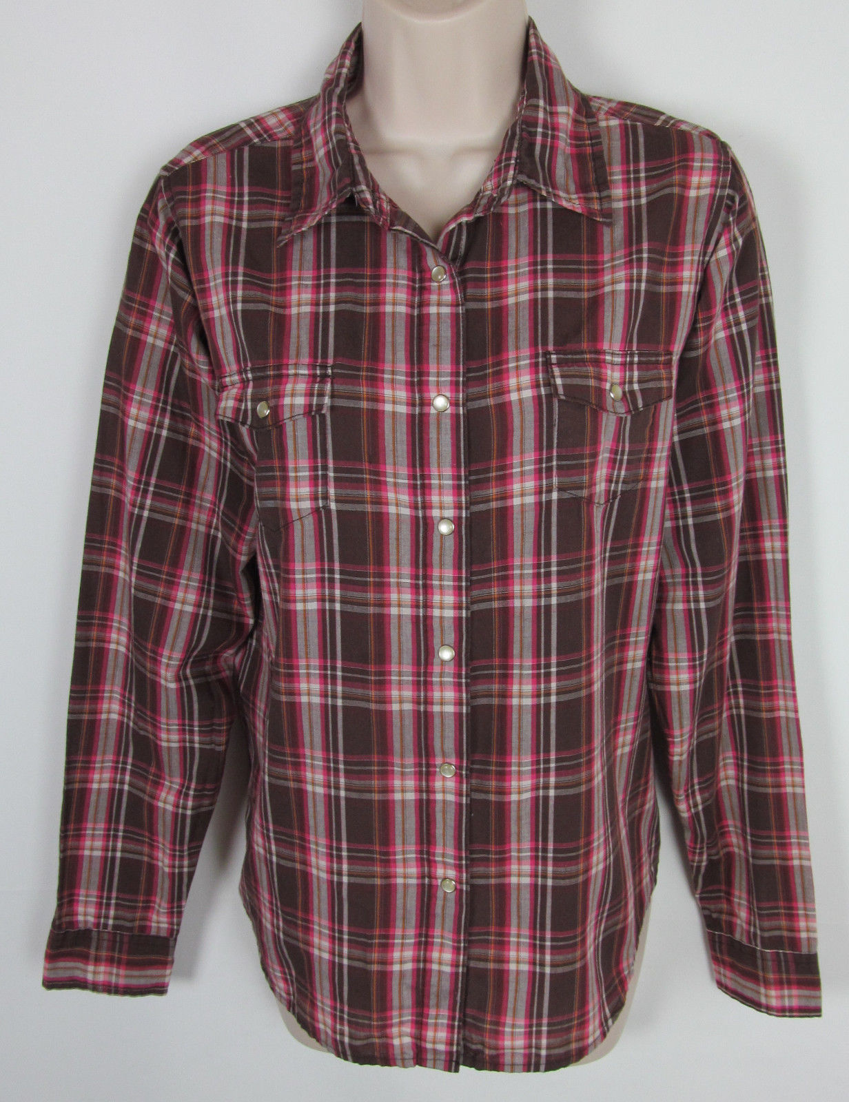 5ff57c99 S l1600. S l1600. Previous. Wrangler Wrancher Western shirt Pearl snap long  sleeve plaid Womens Size L