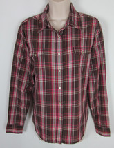 Wrangler Wrancher Western shirt Pearl snap long sleeve plaid Womens Size L - $7.87