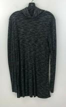 Free People Tunic Top Womens Medium Gray Long Split Tail Cowl Turtleneck... - $19.29