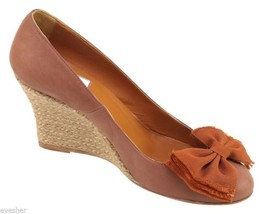 LANVIN Brown Espadrille Wedge Pump Heel Nubuck Suede Leather Shoe 39 - $261.25