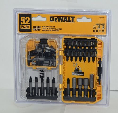 DeWalt DWA52Set Tough Grip ScrewDriving Set 52 Pieces Tough Case Plus