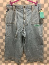 Lee At The Waist Capri Stretch Relaxed Fit Mid Length Blue Denim 16 Med New Nwt - $18.80