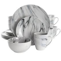 Elama Fine Marble 16 Piece Stoneware Dinnerware Set in Black and White - $84.82