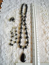Necklace With Matching Pierced Earrings Black Glazed Polymer Brighten Br... - $25.95