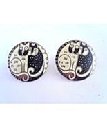 Signed Laurel Burch Kindred Cats Black White Enamel Earrings Retired - $50.00