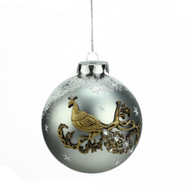 "3.25"" Silver Peacock Design Glass Ball Christmas Ornament - tkcc - $27.95"