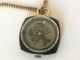 Vintage Rare Mystery Men`s Swiss Pocket Watch with Chain Lobster Crab - $135.12