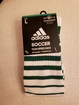 ADIDAS MEN WHITE/GREEN CLIMACOOL UNDR KNEE CREW SOCCER SOCK LARGE 1 PAIR... - $6.99