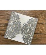 50pcs Glitter Silver Laser Cut Invitations Cards,Laser Cut Wedding Invit... - $66.30