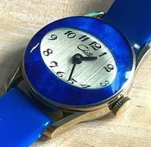 Vintage Chateau Lady Gold tone Blue Swiss Hand-Wind Mechanical Watch Hours - $23.74