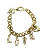 "Love Bracelet Gold Rhinestone Chunky Chain 5.5"" Gift for Mom Mothers Day - $9.99"