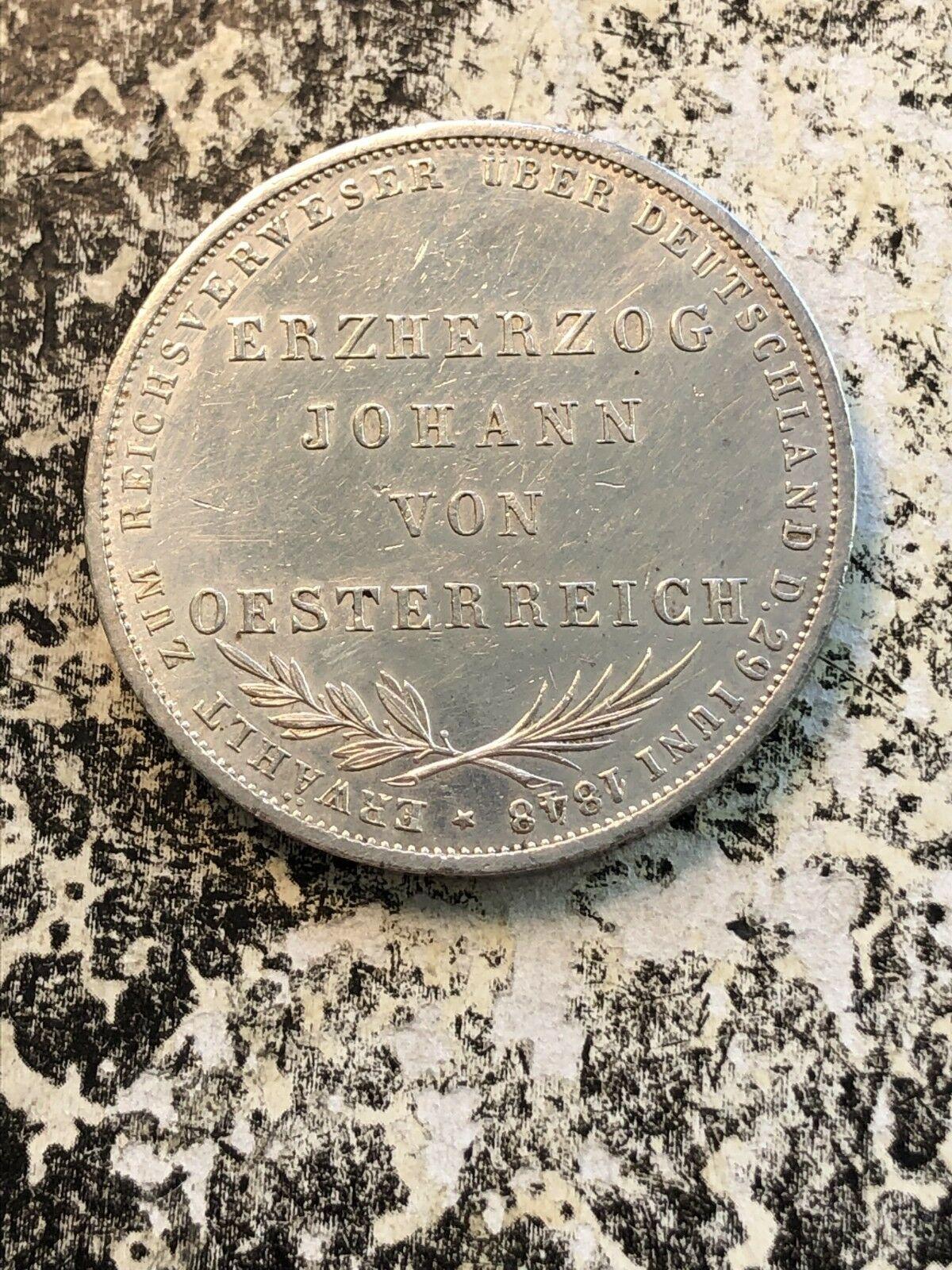 1848 Germania Frankfurt 2 Gulden Lotto #Jm628 Argento! Bellissimo Dettaglio,