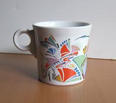 Fiesta Fiestaware Rare Colorful Decorated White Ring Coffee Mug New VHTF - $79.97