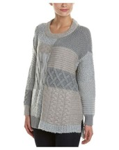 VINCE CAMUTO Grey Oversize Patchwork Mixed Cable Knit Sweater ( MEDIUM) ... - $44.65 CAD