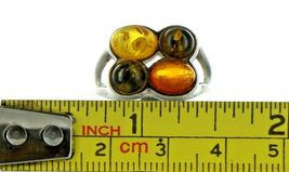 Ladies Size 7 Sterling Silver Natural Tri Color Amber Fashion Ring No. 2108 image 7