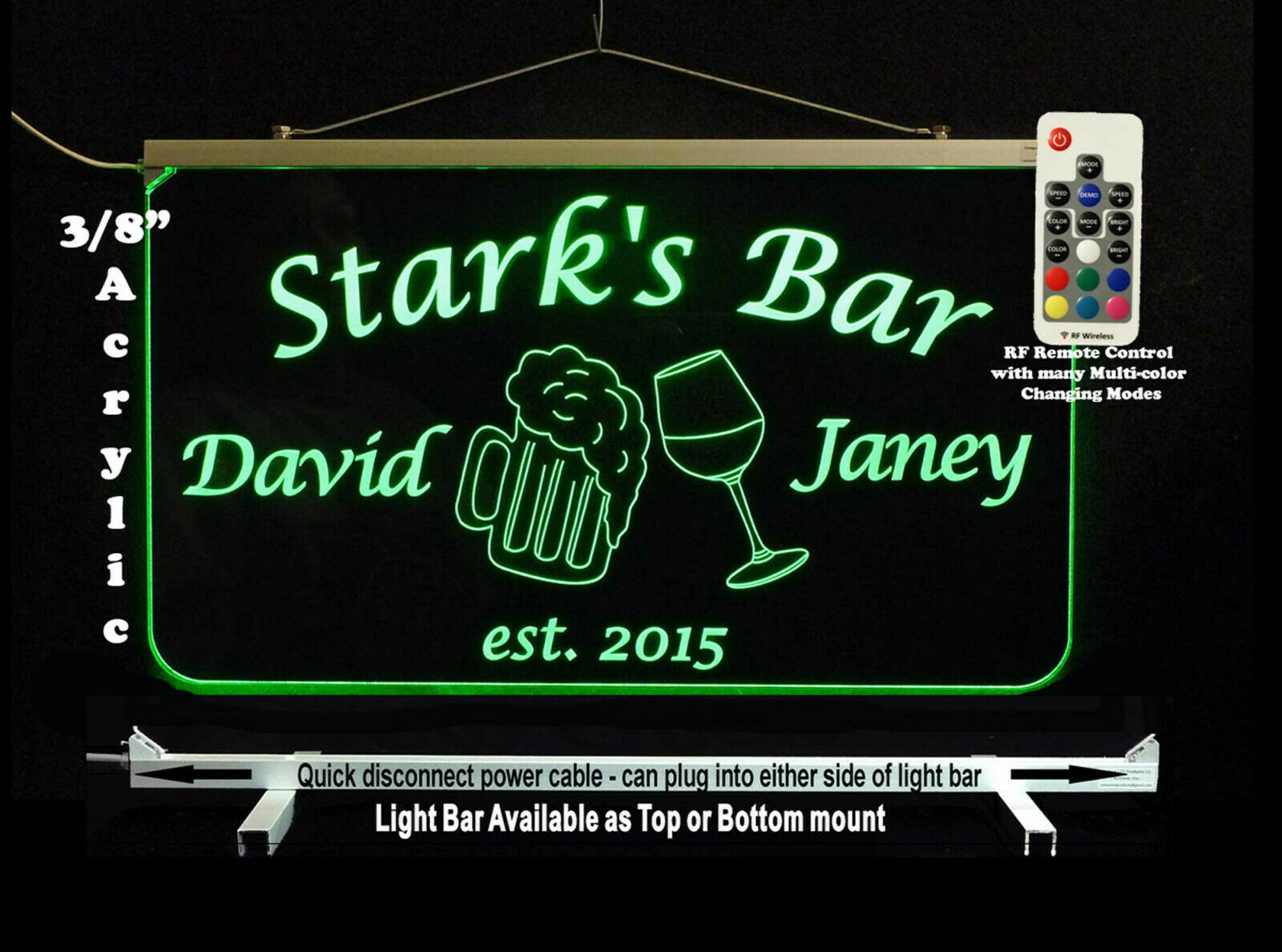 Personalized LED Man Cave Bar Sign- Garage Sign, Gift for Dad -Beer mugs image 5