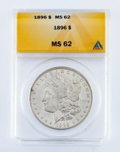 1896 $1 Silver Morgan Dollar Graded by ANACS as MS-62! Nice Morgan! - $59.40