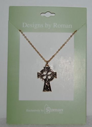 Roman Inc 60082 Celtic Cross Traditional Style Necklace Gold Color 1 Inch