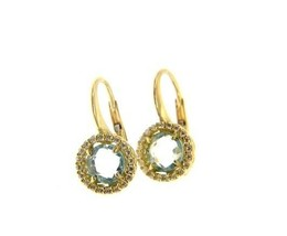 18K YELLOW GOLD LEVERBACK EARRINGS CUSHION BLUE TOPAZ AND CUBIC ZIRCONIA FRAME image 1