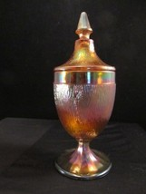 1927 Tree Bark Pedestal Covered Candy Jar Iridescent Marigold by Jeannette Glass - $29.92