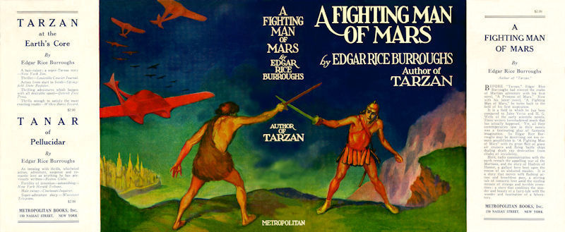 Edgar Rice Burroughs -   FIGHTING MAN OF MARS facsimile dust jacket for 1st ed